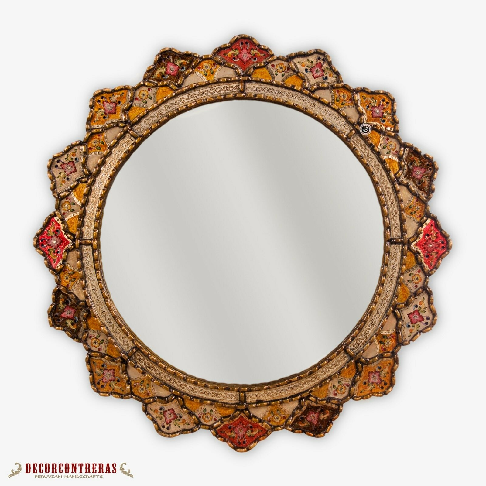 Peruvian Large Round Mirror 31.5 , Decorative Wand Accent Glas Mirror from Peru