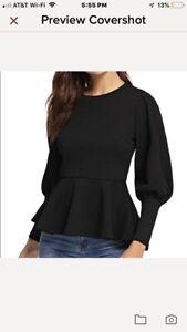 Women-039-s-Elegant-Long-Sleeve-Peplum-Top
