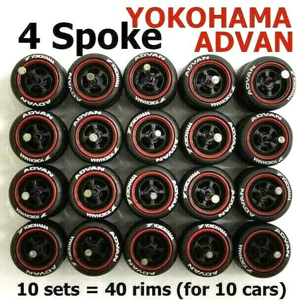 1/64 rubber tyre 4 spoke black rim fit Hot Wheels Nissan diecast cars- 10 sets Z