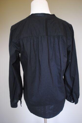 NWT J Crew Embroidered Bib Peasant Top in Black Sz 2 Extra Small XS #06917 $98