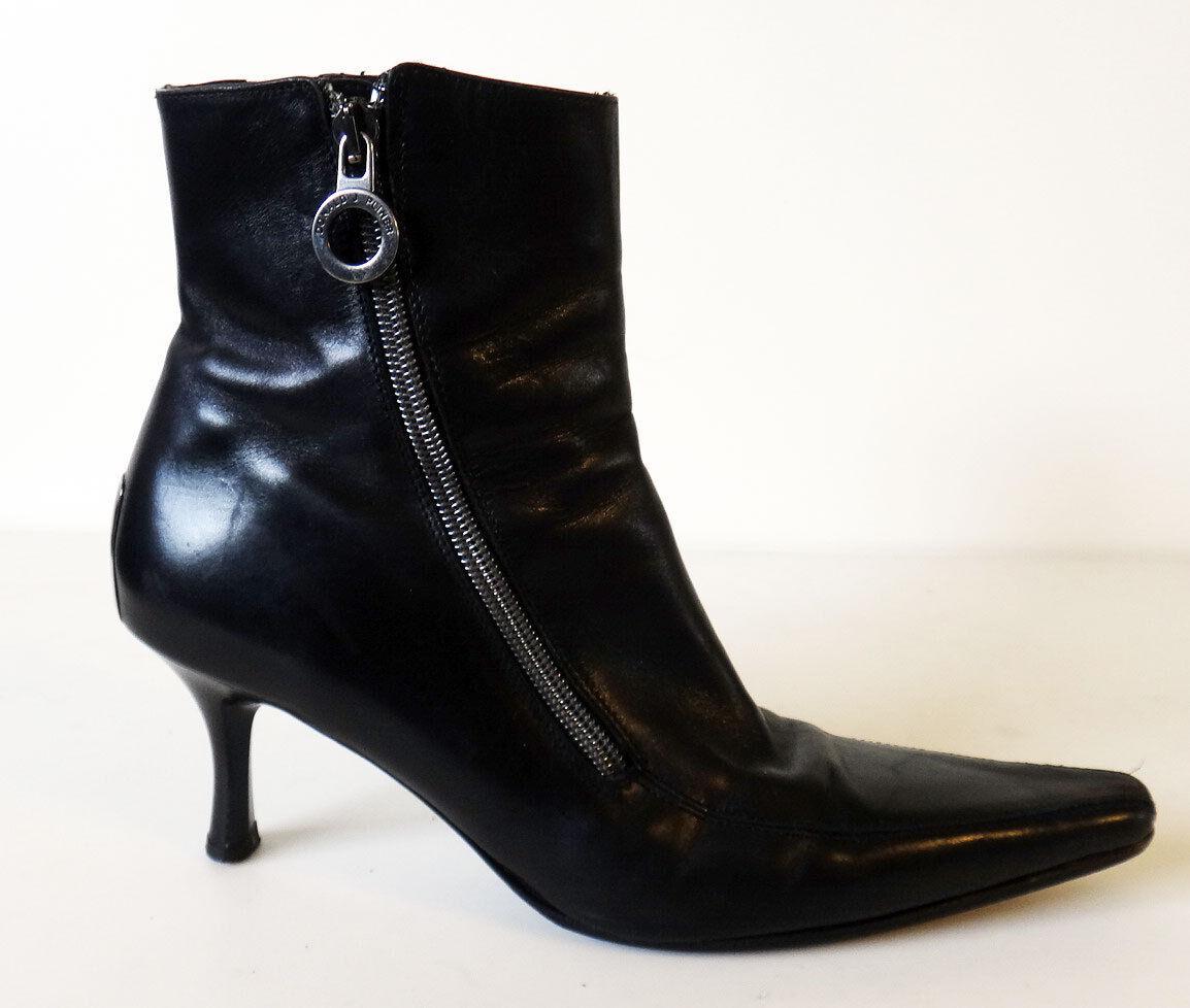 Donald J Pliner puntiagudas de tacón botas 7 M M M salonan cremallera Bruja Negra De Cuero  distribución global