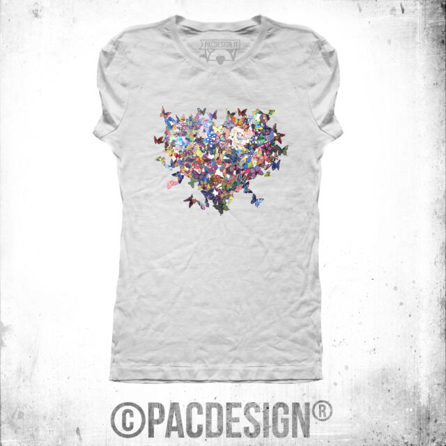 T-SHIRT DONNA BUTTERFLY FARFALLE HEART CUORE WHY SO VINTAGE CL0005A