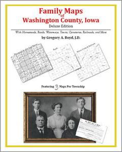 Washington County Iowa Map.Family Maps Washington County Iowa Genealogy Ia Plat Ebay