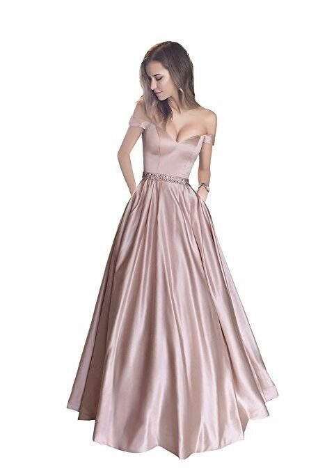 Off Off Off the shoulder Beaded Long Prom Pageant Dress Satin Party Formal Evening Gowns be066a