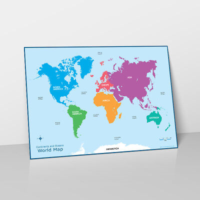 WORLD MAP CONTINENTS & OCEANS LEARN CHILDRENS POSTER WALL CHART MAP OF  WORLD 670924571162 | eBay