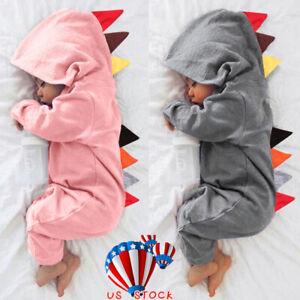 327c702ad Image is loading Newborn-Baby-Girls-Boys-Dinosaur-Hoodie-Romper-Jumpsuit-