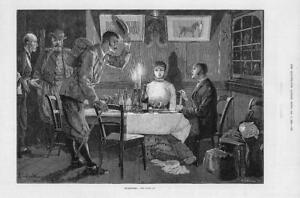 1881-FINE-ART-Antique-Print-INTRUDERS-Dinner-Table-Young-Couple-169