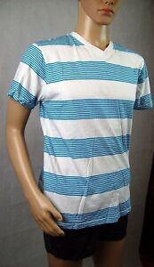 New-Mens-Southpole-Striped-Casual-T-Shirt-Tee-Blue-amp-White-Top-Size-L