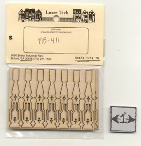 Urn Porch Spindles Balusters 7213 dollhouse wooden miniature 6pc 1//12 scale