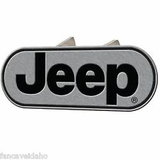 "Jeep Classic Logo Oval Brushed Metal Hitch Plug Cover Fits 1 1/4"" & 2"" Receivers"