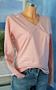 Maedchen-Damen-T-Shirt-Shirt-Langarm-Rosa-Uni-Druck-164-170-34-36-13-15-Jahre-NEU