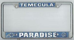 Image Is Loading Temecula California Paradise Chevrolet  Buick Vintage Dealer License
