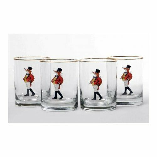 Richard E. Bishop Snooty Fox Double 14 Oz. Old Fashioned Glass Set of 4