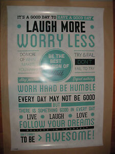 Laugh More Worry Less Motivational Poster Print Wall Art Be Awesome 24x36 Quote - Italia - Laugh More Worry Less Motivational Poster Print Wall Art Be Awesome 24x36 Quote - Italia