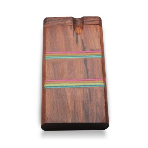 "Green Goddess Supply Classic 4/"" Rainbow Stripe Swivel Cap Wooden Tobacco Case"