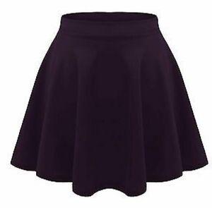Girls Black Skater Skirt School Kids High Waisted Stretch ...