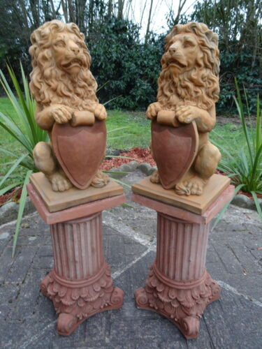 Pair-Vintage-Gold-English-Stone-Standing-Lion-Garden-Statues-On-Roman-Plinths