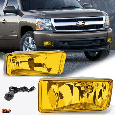 Yellow Amber Lens OE Front Bumper Fog Light Lamp+Bulb For Chevy Silverado//Suburban//Tahoe