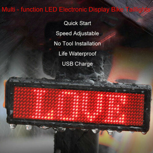 DIY Programmable LED Electronic Display Bicycle Taillight Bike Warning Rear Lamp