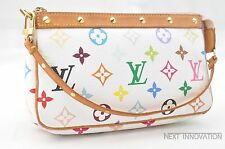 Auth Louis Vuitton Monogram Multicolor Pochette Accessoires White Pouch LV 34951