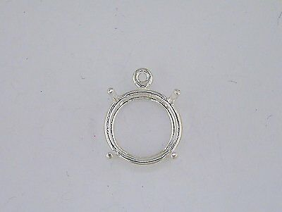 Round 4 Prong Wire Mount Dangle Setting Sterling Silver