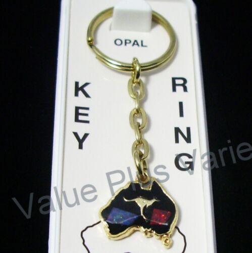 Australian Souvenir Keyring Miniature Map Kangaroo Gold Plated Opal Chips