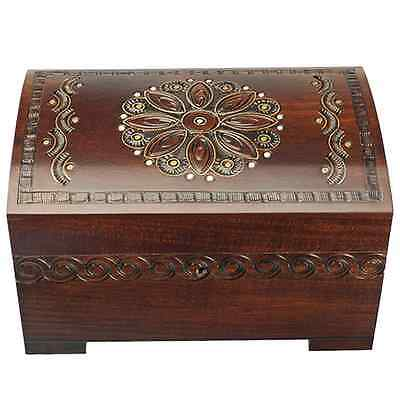 Large Polish Wood Chest Handmade Floral Wood Jewelry Keepsake Box w/ Lock & Key