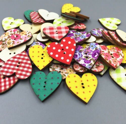50pcs Mixed pattern Wooden Heart-shaped buttons Sewing 2-holes scrapbooking 24mm