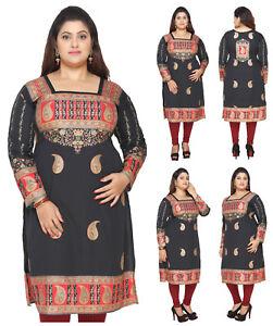 PLUS-SIZES-UK-STOCK-Hand-Wash-Indian-Kurti-Tunic-Kurta-Black-Dress-EPLUS106A