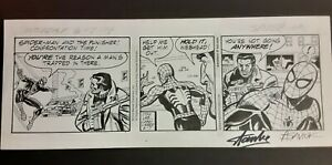 2004 AMAZING SPIDERMAN PUNISHER ORIGINAL NEWSPAPER COMIC ART DAILY STRIP SIGNED