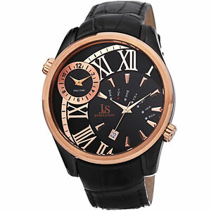 New-Men-039-s-Joshua-amp-Sons-JS72BKR-Quartz-Dual-Time-Black-Genuine-Leather-Watch