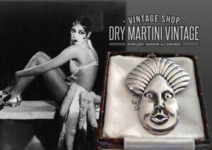 ANTIQUE ART DECO BLACKAMOOR CHROME BROOCH PIN 1920s JAZZ AGE MODERNIST COLLECTOR