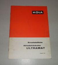 Teilekatalog / Ersatzteilliste Köla Abladehäcksler Ultramat Stand 1966