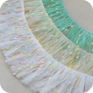 2yds-Gauze-Ruffle-Tassel-Trim-Pleated-Fringe-Lace-Ribbon-Sewing-DIY-3-93-039-039-Width