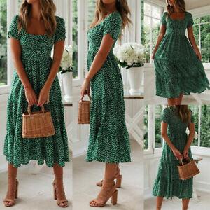 Women-Vintage-Floral-Midi-Dress-Ladies-Summer-Beach-Short-Sleeve-Casual-Dress