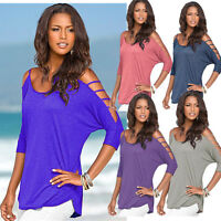 Women T-Shirt Cut Out Round Neck Long Sleeve Solid Ripped Tops Club Wear 4Colors