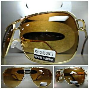 CLASSIC VINTAGE RETRO Style SUNGLASSES Unique Thick Black Gold Frame Custom Made