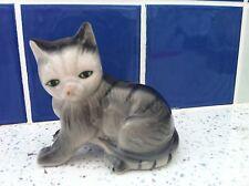 Vintage Mid-Century Ceramic Grey Cat Figurine
