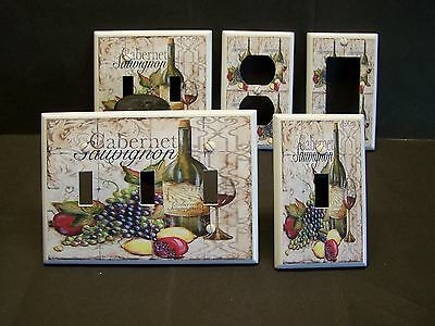 WINE & GRAPES CABERNET SAUVIGNON TILED IMAGE LIGHT SWITCH OR OUTLET COVER V436