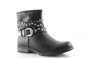 scarpe sportive 3538b ce093 Dettagli su Stivaletti donna estivi traforati con borchie e fibbia in pelle  vegan biker neri