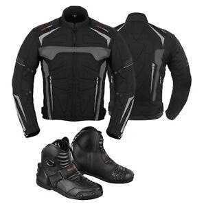 Men-039-s-Motorbike-Racing-Cordura-Jacket-Coat-Motorcycle-Biker-Leather-Black-Boots