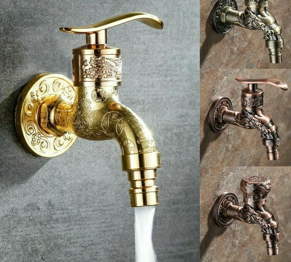 Carved Wall Bottle Tap Bibcock Zinc Alloy Retro Tap Decorative Outdoor Faucet