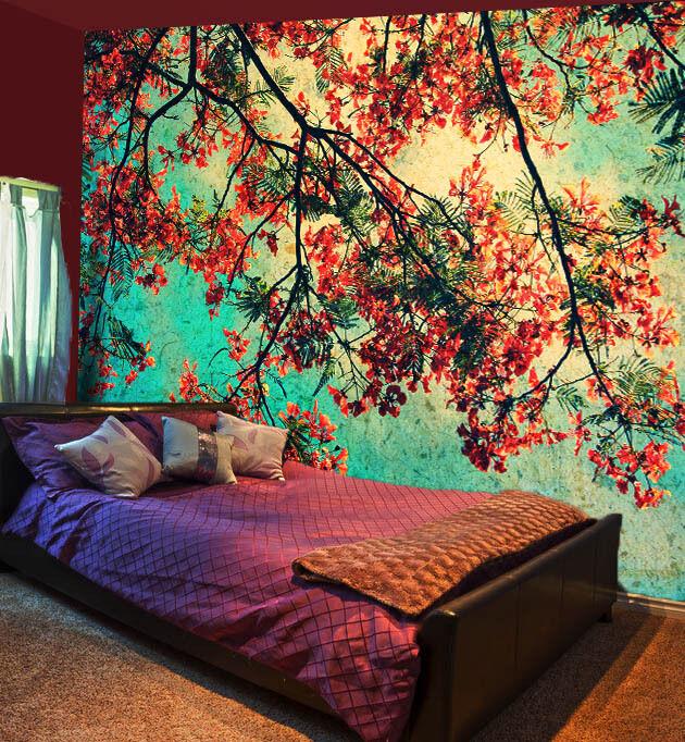 3D Spring flowers branchWallPaper Murals Wall Print Decal Wall Deco AJ WALLPAPER