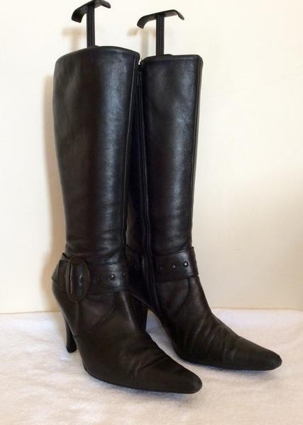 MODA IN PELLE Stiefel BLACK LEATHER BUCKLE TRIM Stiefel PELLE SIZE 6/39 b1c900