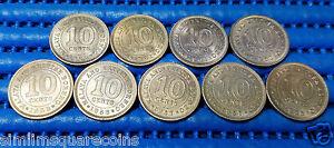 1953-1956-1957H-1957KN-1958-1960-1961-1961H-1961KN-Malaya-amp-British-Borneo-Coin