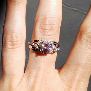 image is loading 1 25 ct purple moissanite diamond wedding ring - Double Band Wedding Ring