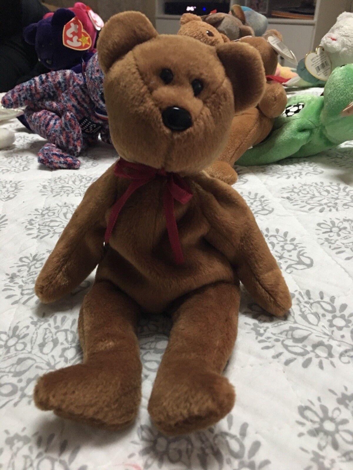 Super - seltenen zweiten gen teddy braun gesicht tragen - beanie baby 1993 mint 1. gen hintern