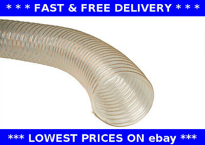 Ventilation PU Clear Flexible ducting Hose for dust 50mm Dia Vapour and woodwaste Extraction x 6m Long Fume