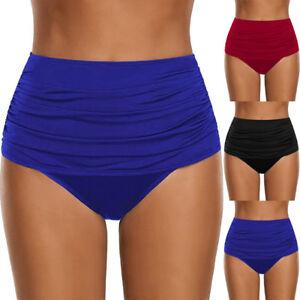 e92864763360b Plus Size Women High Waisted Swim Bottom Ruched Bikini Tankini ...