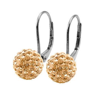 Tresor Paris Gold 10mm Crystal Drop Titanium Earrings 017905